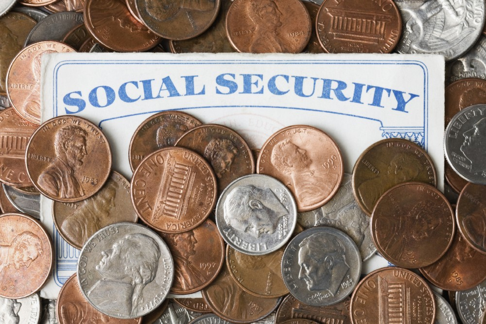 Social Security Card and Coins